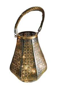 Black & Gold Rustic Metal Lantern