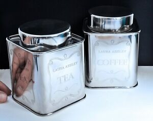 Ornate LAURA ASHLEY Metal TEA & COFFEE Canisters / Storage Tins. Kitchen