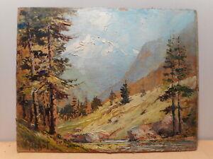 Tableau peinture paysage sommet enneigé montagne sapin Alpes H Nahor ?