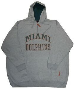 Miami Dolphins NFL 1/4 Zip Mens Gray Pullover Hoodie Big & Tall Sizes