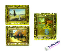 1:12 Dollhouse Miniature Gold Frame Art Wall Picture Oil Painting Home Decor 3pc
