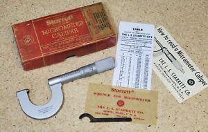 """Starrett No. 575  22 - 30 TPI screw thread micrometer - 0"""" - 1.00"""" made in U.S.A"""