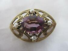 Amethyst Yellow Gold Brooch/Pin Vintage Fine Jewellery