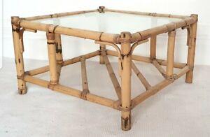Mid century bamboo coffee table, glass top, storage shelf, vintage rattan, boho.