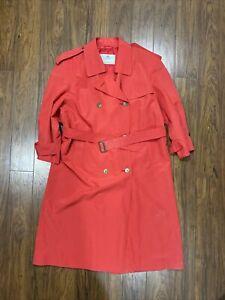 Vintage Womens Aquascutum Salmon Red Trench Raincoat Size L XL