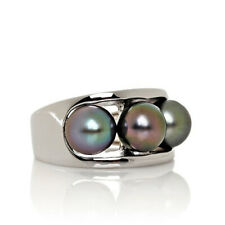 HSN Designs By Turia 7 8MM Round Cultured Pearl Sterling Three Stone Ring Size 7