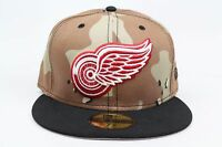 Detroit Red Wings Desert Camo Black Red White NHL New Era 59Fifty Fitted Hat Cap