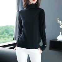 Women Winter Casual Long-sleeve Shirts Solid Color Pullover Turtleneck Sweater