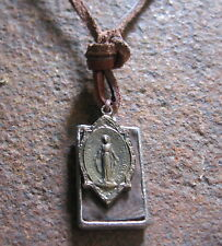Vintage Leather Necklace Tag Maria New Men Necklace Brown Surf Jewelery Necklace