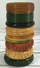 Vintage Carved Swirl Bakelite Bangle Bracelet Stack Lot Thin Chunky Retro