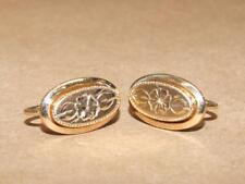 """VTG Antique 12k Gold Filled Oval Etched Flower Screw Back Earrings 5.5 gr 3/4"""""""