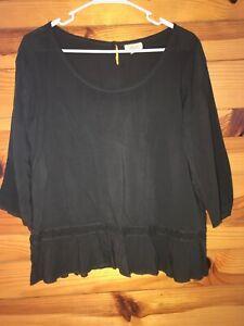 Aerie American Eagle Black Top Women's Juniors Shirt with Lace Trim EUC Size L