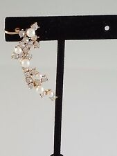 Gold Crystal and Cream Pearl FASHION Ear Cuff ( Left Ear )