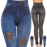 Fashion Women Denim Skinny Pants High Waist Hole Stretch Trousers Slim Leggings