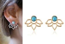 Delicate Flower Leaf & Turquoise Round Stud Gold Ear Jackets Cuff Earrings Urban