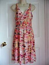 Vertigo Paris Dress Sleeveless M Multi Row Elastic Waist Nylon Geometric Pattern