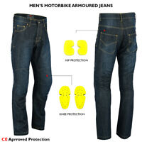 Mens Motorcycle Jeans Motorbike Pants Reinforced Denim Trousers CE Armoured UK