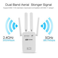 Home WiFi Repeater Wireless Router Range Extender Signal Booster - 1200/300Mbps