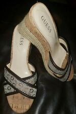 2131ab08764 GUESS Women s Platform Wedges Slides Cork Heel Brown Beige Size 9M ...