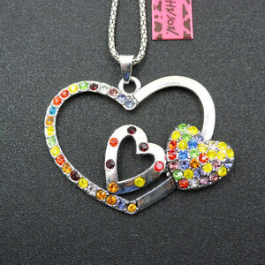 Women's Multi-Color Crystal Alloy Love Heart Pendant Betsey Johnson Necklace