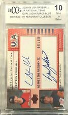 CLAYTON KERSHAW 2005 Upper Deck USA dual Auto 041/100 rookie  BGS BCCG 10 MINT!!