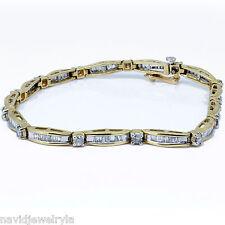 3 carat Diamond Bracelet Round Cut And Baguette F Si1 14k Yellow Gold