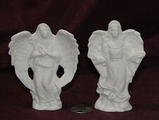 Ceramic Bisque Set of 2 Small Angels U-Paint Unpainted Ready to Paint Angel
