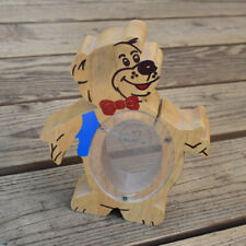 Vintage 1980s Wood Bear Shaped Piggy Bank with Slot and Clear Plexiglas Belly
