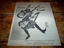 KENT GUITAR / AMPS ( MOD model ) ORIG 1960's U.S. Vintage magazine PROMO Ad NM
