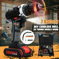 Cordless Drill Double-Speed 25 Torque LED + 2 Battery Kit Screwdrivers 36V Max R