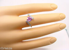 NATURAL CEYLON PINK SAPPHIRE 1.06 CTS with DIAMONDS  14K WHITE GOLD