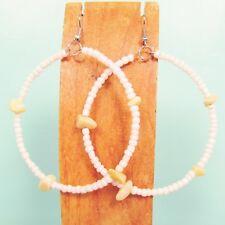 "2"" Stone Chip Pearl White Color Bohemian Handmade Bali Seed Bead Hoop Earring"