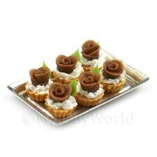 6 Sueltos Miniatura Para Casa De Muñecas Chocolate Rosa TARTAS EN UNA BANDEJA