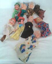 Lot de 9 marionnettes à main vintage, avec costumes , Théâtre Guignol