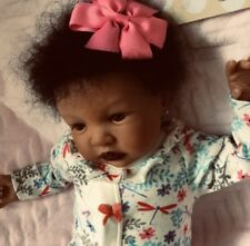 BLACK/BIRACIAL REBORN BABY GIRL DOLL.SHYANN. HANDROOTED HAIR. BROWN EYES 19 INS.