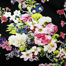 NEW Fabric Floral Flowers Black Sateen Stretch Cotton Material HALF METRE x130cm