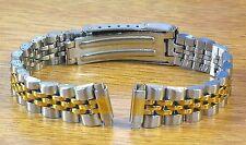 Jubilee Style Ladies Two Tone 10-13mm Stainless Steel Metal Watch Link Bracelet