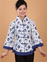 White beige Chinese women's Linen/cotton tops shirt blouse Sz: 8 10 12 14 16 18