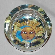 NEW SUN & MOON CELESTIAL DECORATIVE GLASS ASHTRAY SMOKING VESSEL HOLDER