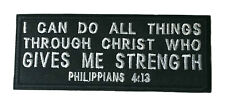 Philippians 4:13 Rocker Embroidered Patch Christian Religious iron Bible Jesus