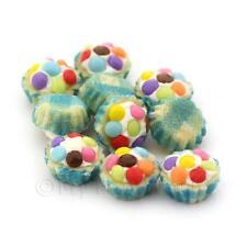 4x Miniatur Smartie gekrönt Cupcakes mit einem blau Papierbecher