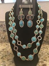 Brand New - Anne Klein Goldtone Turquoise Necklace Strand & Earring Set