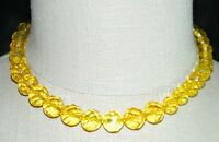 VTG Gold Tone Faceted Yellow Cut Crystal Beaded Art Deco Choker Necklace