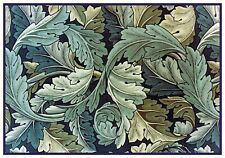 William Morris Acanthus Vine Blue Green Counted Cross Stitch Chart Pattern