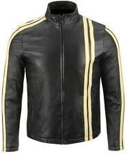 Men Black Biker Motorcycle Leather Jacket w/ White Stripes & Free CE Armors