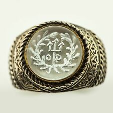 KONSTANTINO Sterling Silver / 18K gold Men's Round Ring with Clear Stone (0316B)