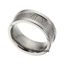 9MM Roman Number Wedding Band Engagement Titanium Ring Men Fashion Jewelry Size9