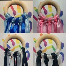 New Gift Baby Sensory Rainbow Ribbons Natural 7cm Beech Wood Ring Girl Boy