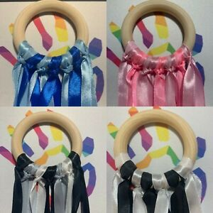 Baby 0-6 months + 5 Different Types Sensory Ribbons Natural 7cm Beech Wood Ring