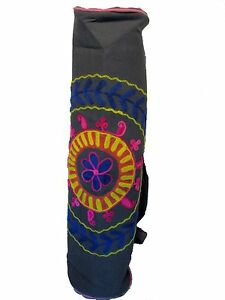US SELLER  Canvas Hand Embroidered Yoga Mat Bag by India with Adjustable Strap